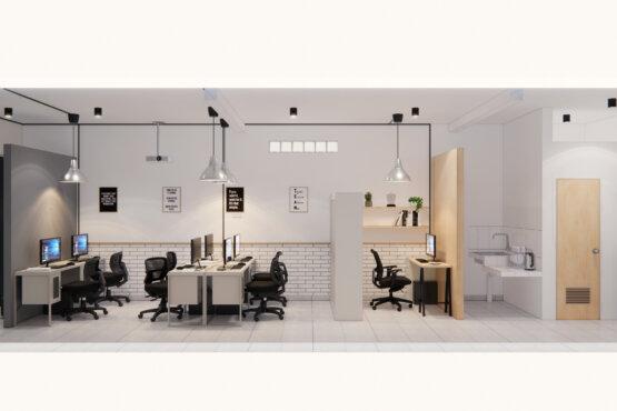 tampak depan desain interior kantor industrial