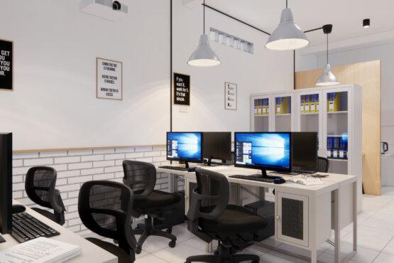 area kerja desain interior kantor industrial
