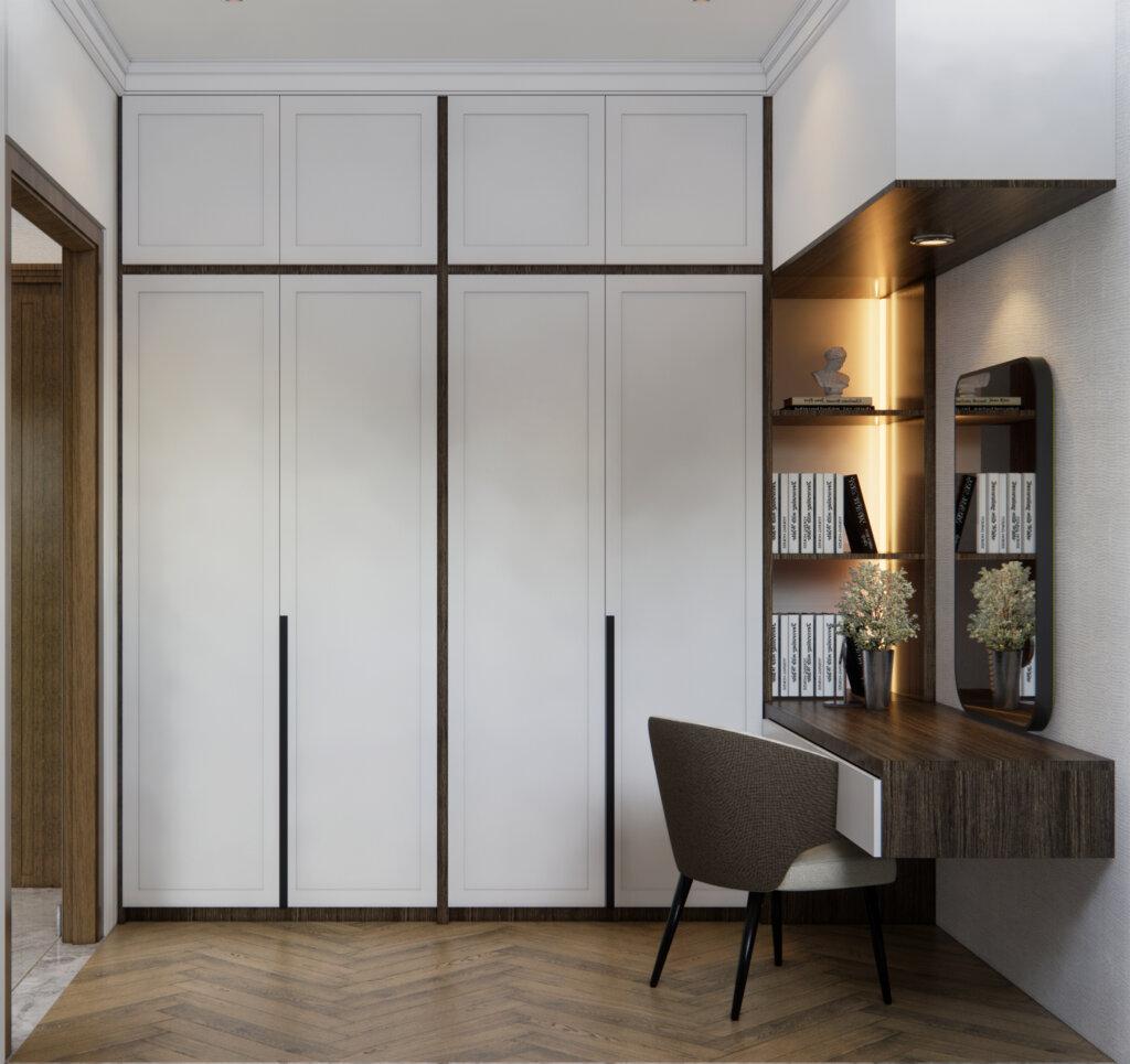 desain pada wardrobe di kamar utama