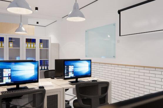 tampak samping desain interior kantor industrial