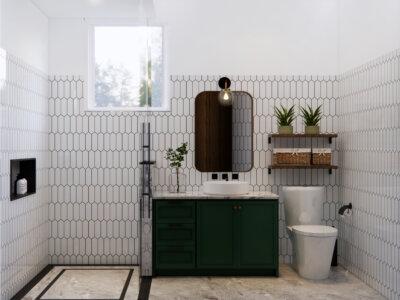farmhouse design pada kamar mandi