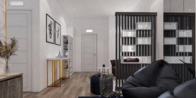 interior ruang keluarga dan ruang tamu modern
