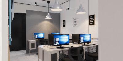 inspirasi desain interior kantor industrial
