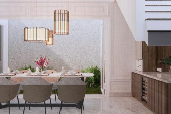 ruang makan dan ruang tengah modern klasik
