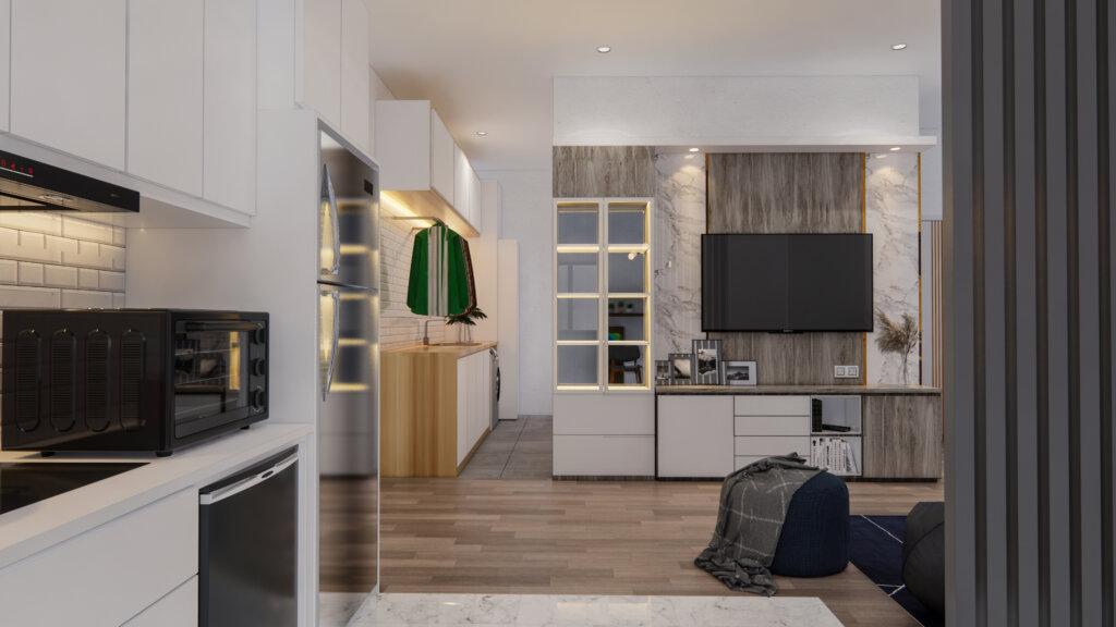 interior ruang makan dan dapur modern