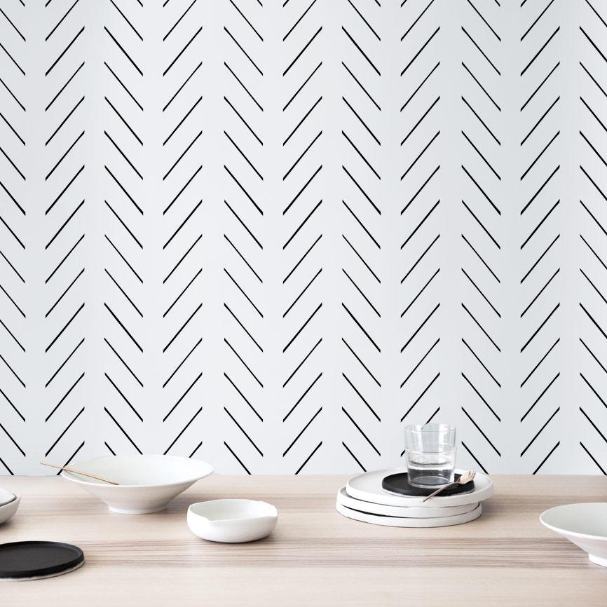 wallpaper dinding minimalis motif tulang ikan haring