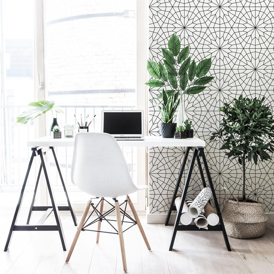 wallpaper dinding minimalis berpola geometris skandinavia