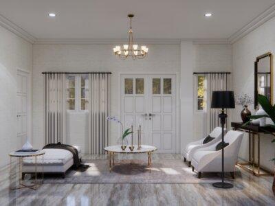 ruang tamu dengan country design