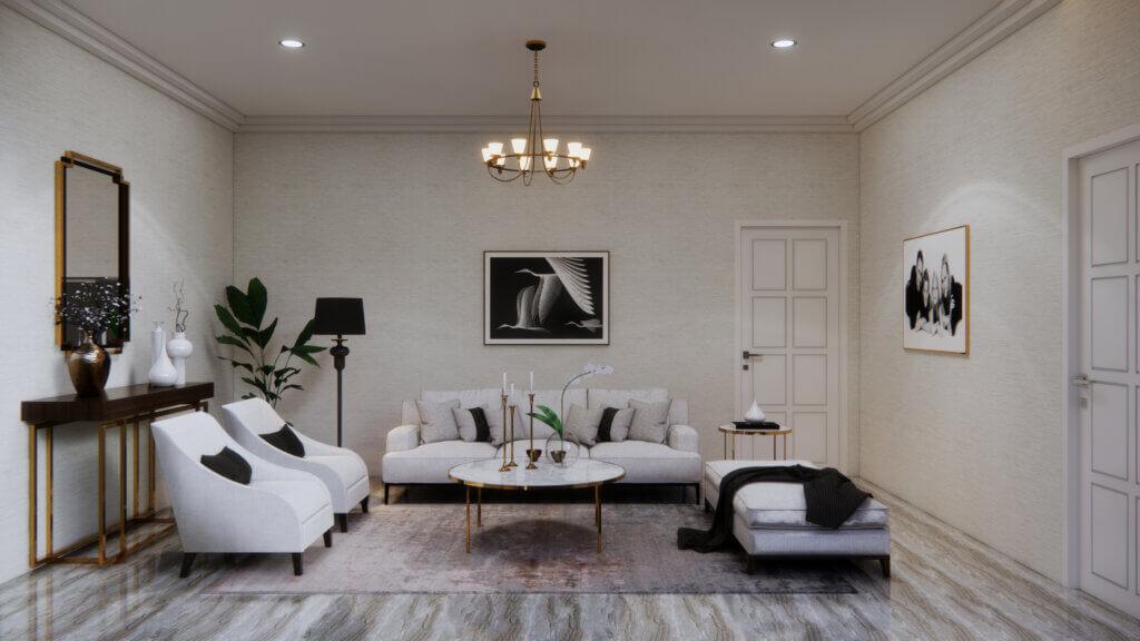ruang tamu dengan country design interior