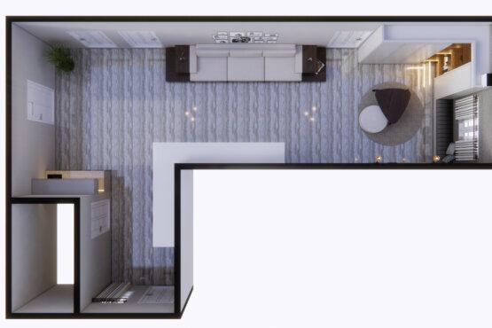 denah ruang keluarga transit desain klasik
