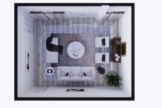 denah ruang tamu dengan country design