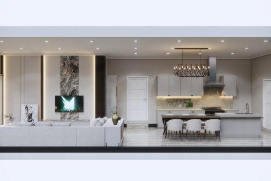 ruang keluarga dan pantry desain klasik