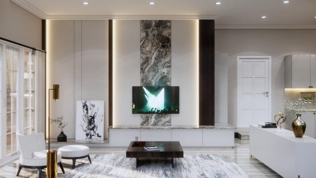 ruang keluarga dengan desain klasik