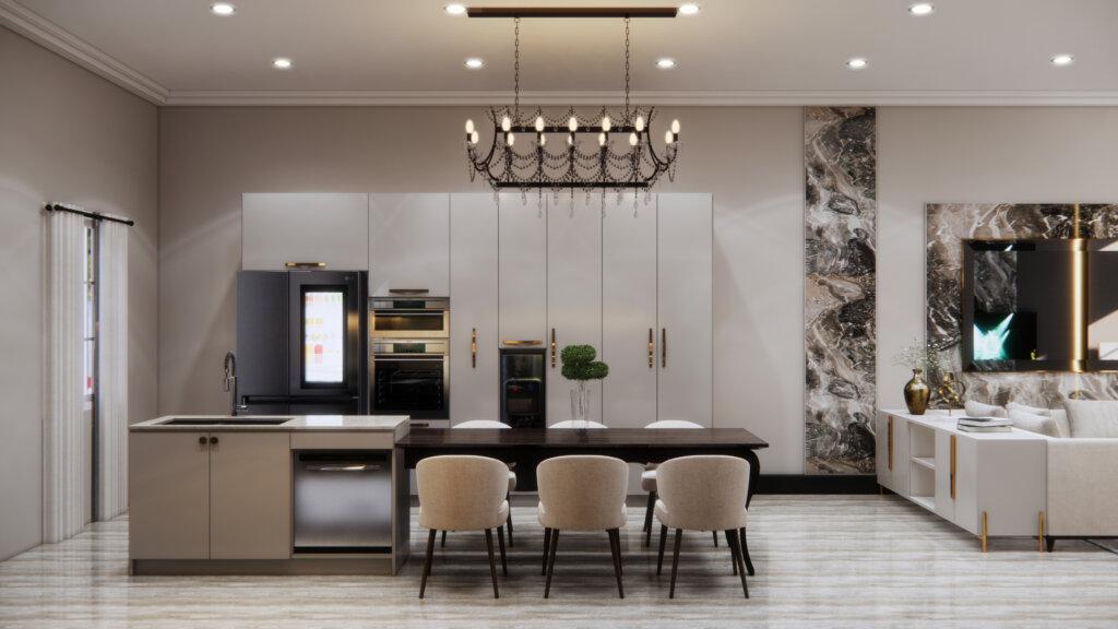 interior dapur dan ruang makan klasik