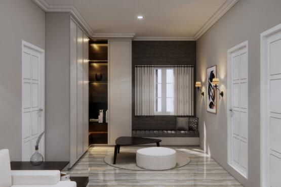 ruang keluarga transit dengan desain klasik