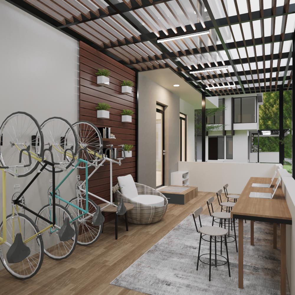 desain interior teras rumah kontemporer