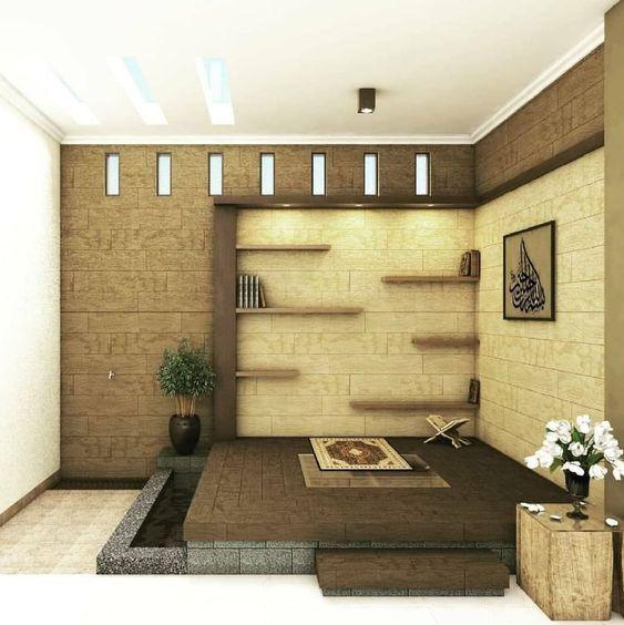 desain mushola rumah minimalis dengan dinding batu alam