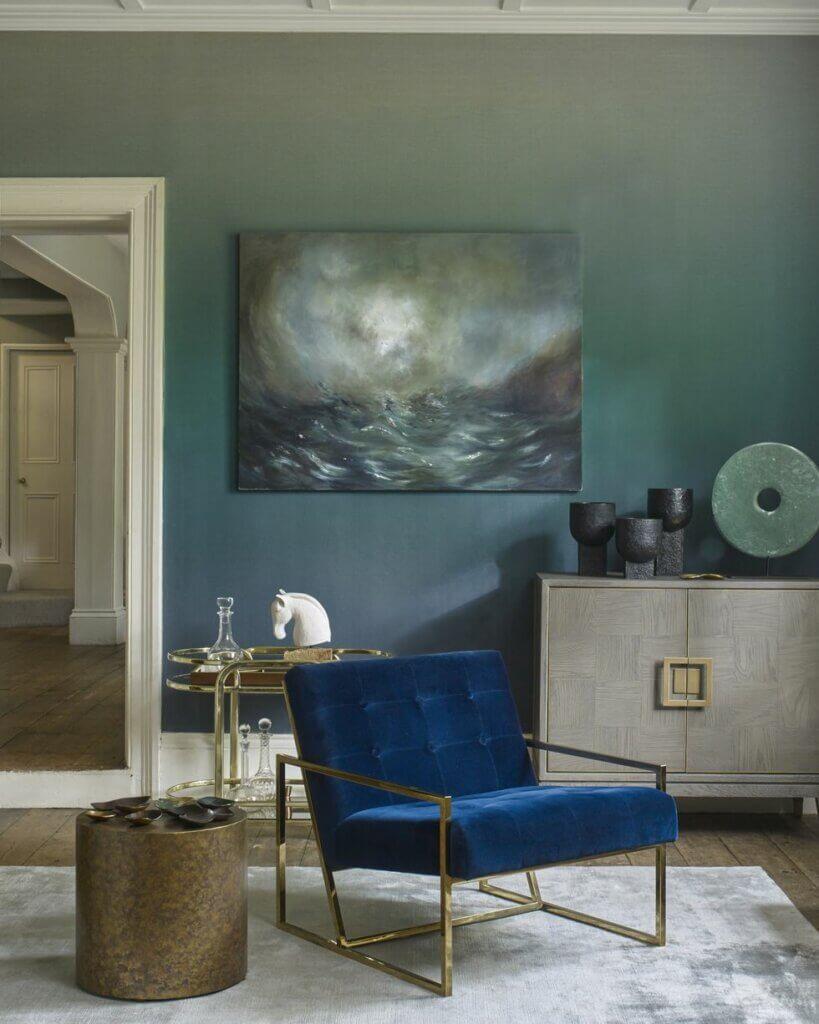 wallpaper dinding ruang tamu dengan warna gradasi
