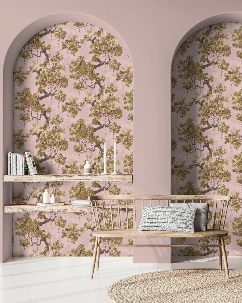 wallpaper untuk ceruk dinding ruang tamu