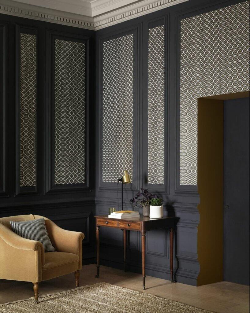 wallpaper dinding ruang tamu dengan pola panel