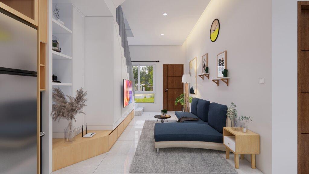 Interior ruang keluarga minimalis, Depok, Jawa Barat