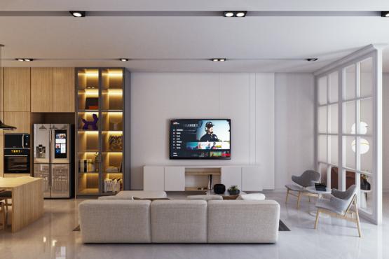 ruang keluarga modern farmhouse
