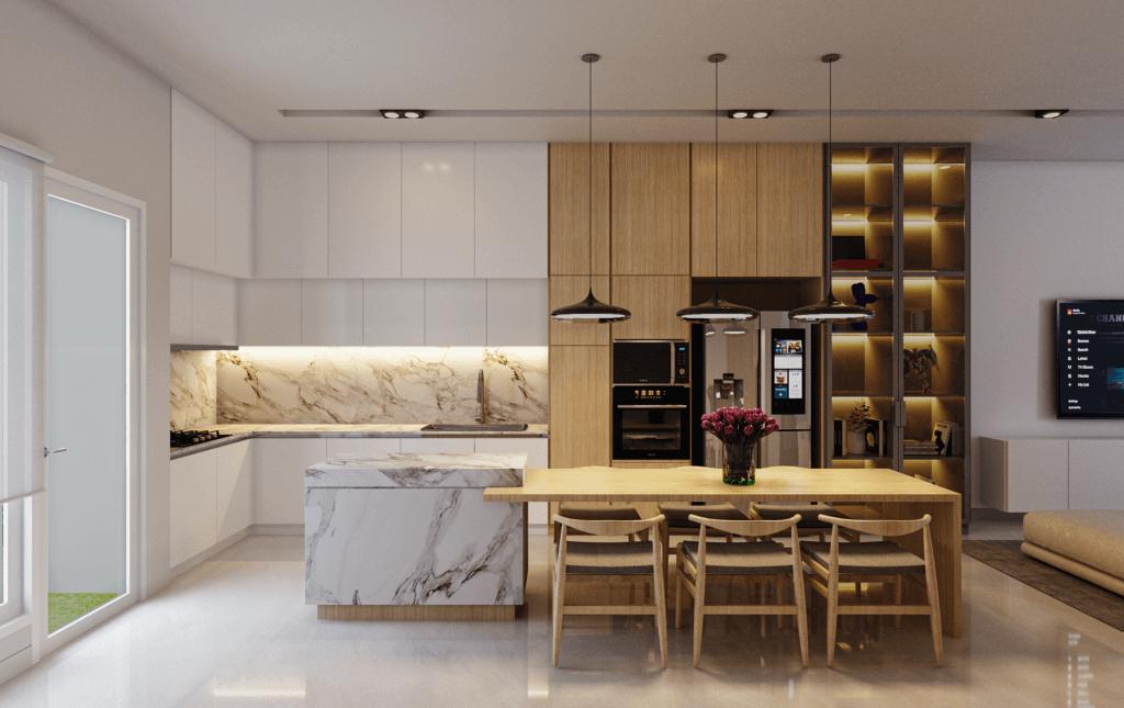 ruang keluarga dan ruang makan modern farmhouse