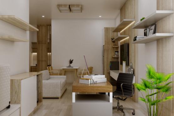 ruang keluarga dan ruang kerja skandinavia
