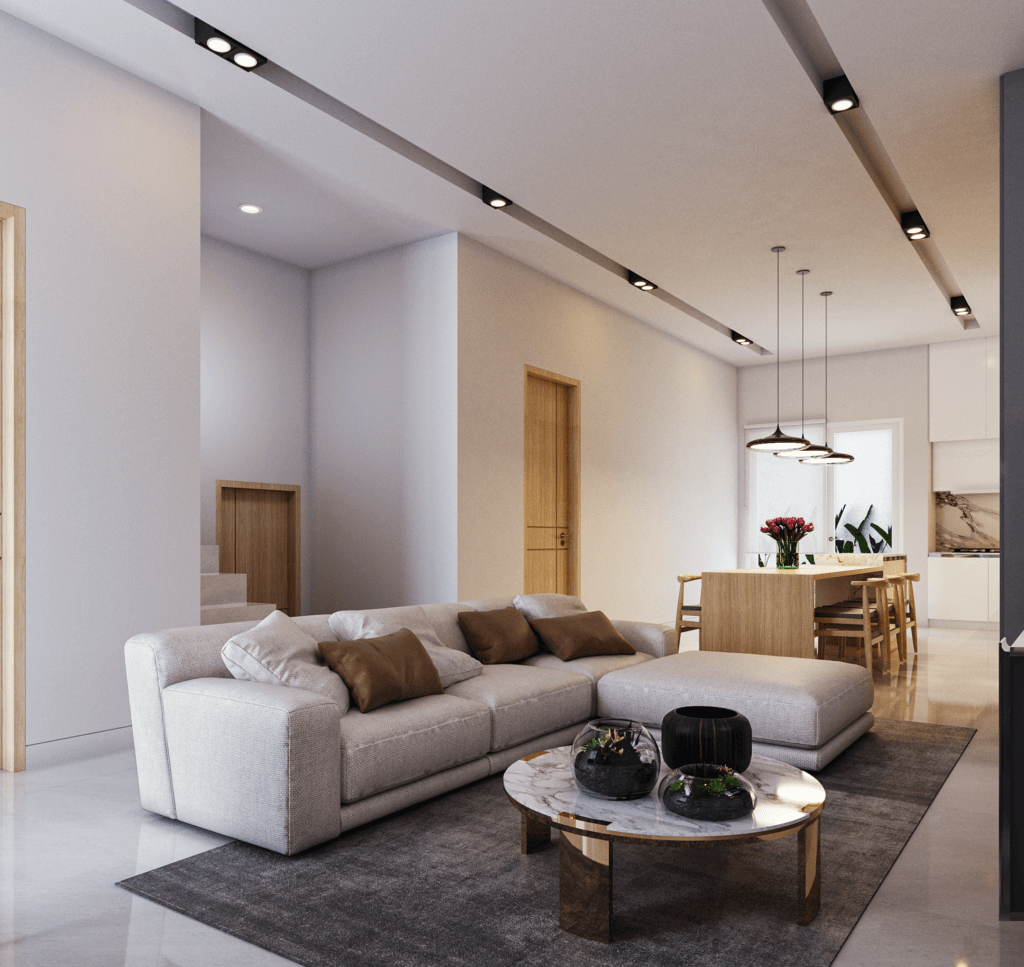 Desain interior ruang keluarga gaya modern farhmouse, Jakarta Barat