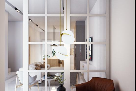 desain interior ruang keluarga modern farmhouse