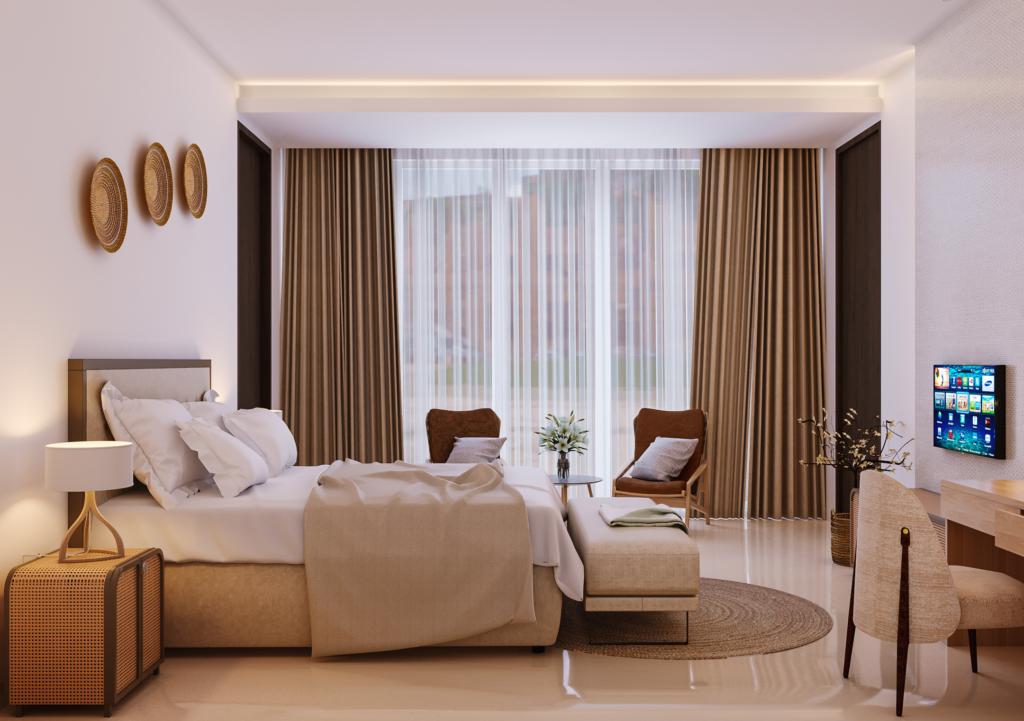 interior kamar di rumah modern tropis