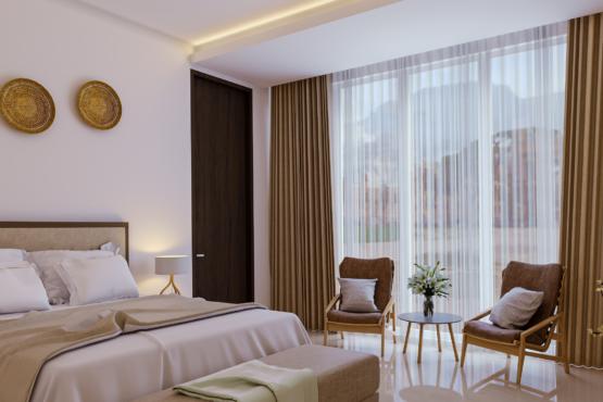 kamar tidur di rumah modern tropis