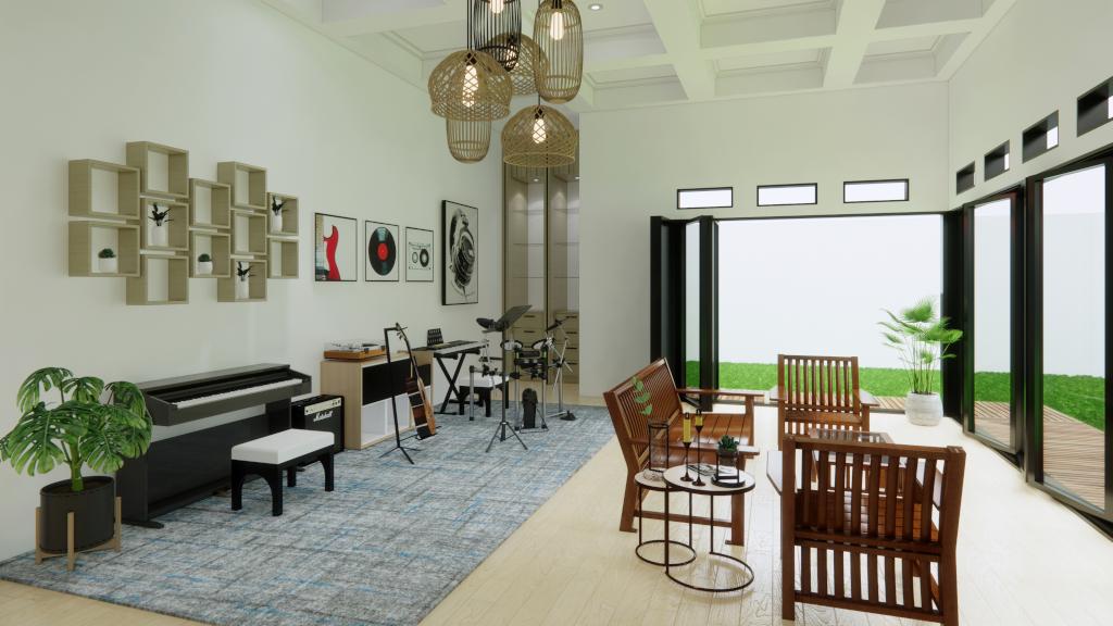 Interior ruang keluarga gaya mediteranian modern, Cakung, Jakarta Timur