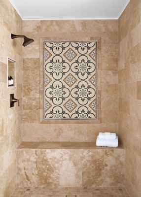 lubang-lubang keramik dinding motif batu alam travertine