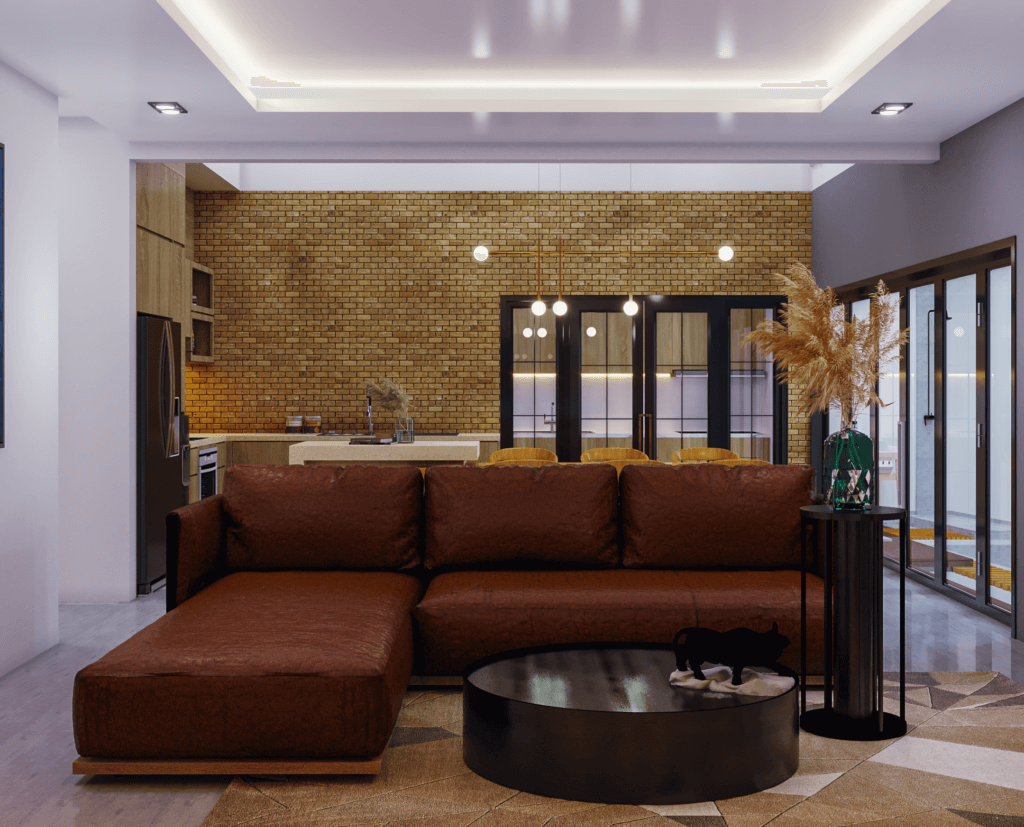 ruang keluarga modern industrial