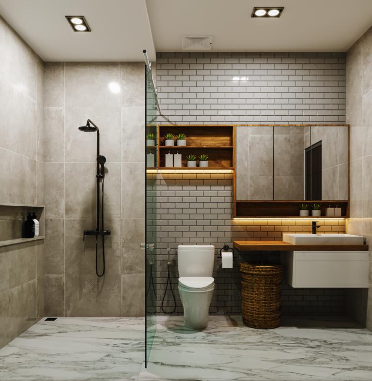 interior kamar mandi di industrial modern house