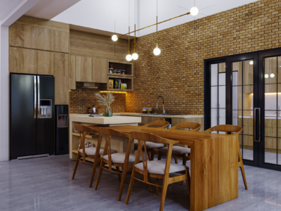 ruang makan industrial modern