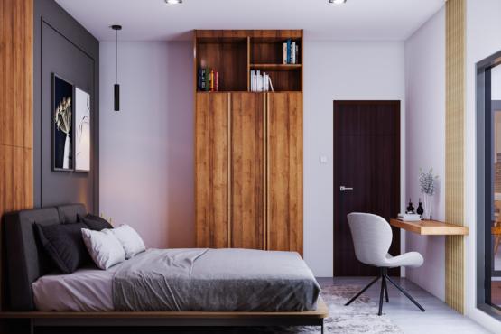 interior kamar di modern industrial house