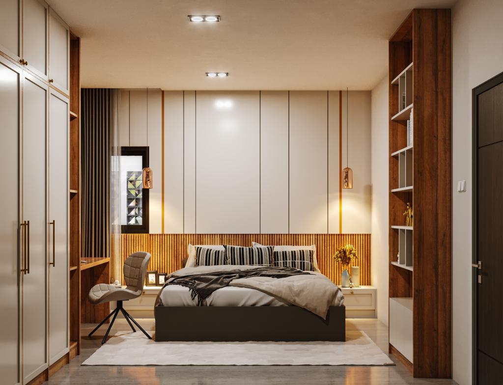 desain interior kamar tidur di modern industrial house