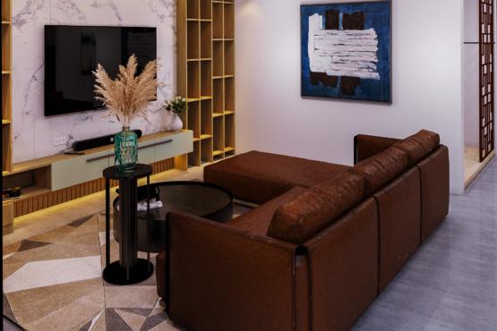 desain ruang keluarga modern industrial