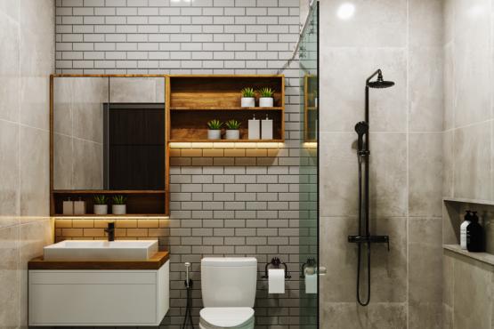 kamar mandi di industrial modern house