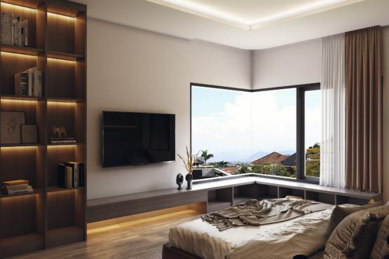 kamar tidur di modern industrial house