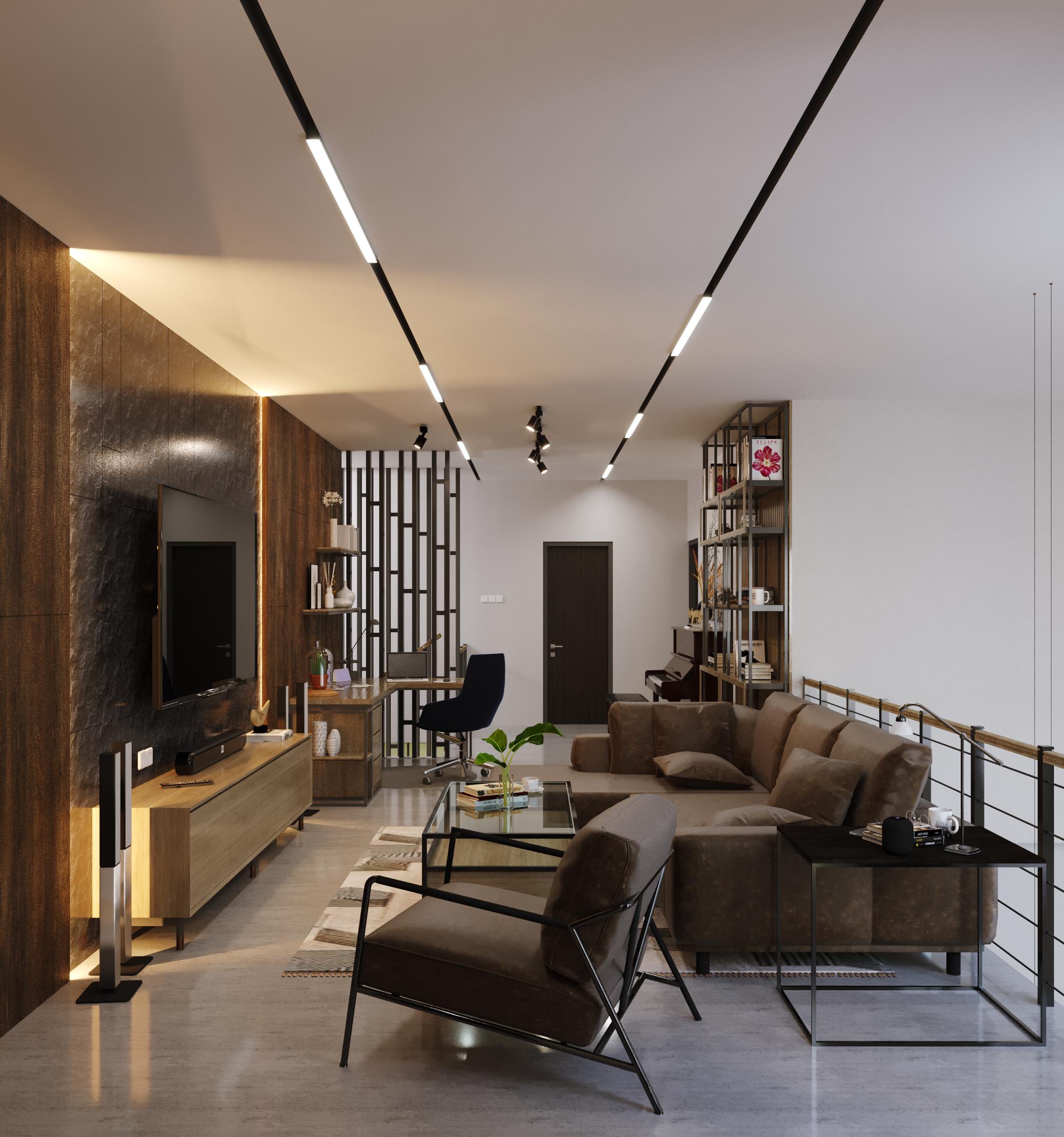desain interior ruang keluarga modern industrial