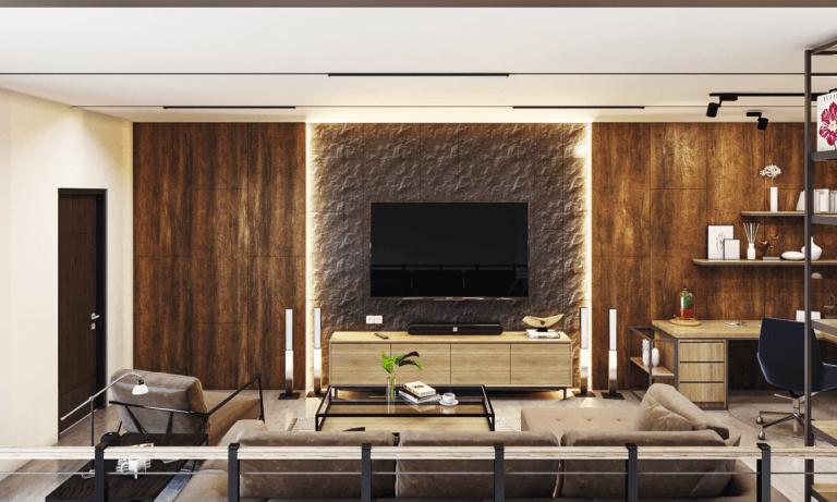 interior ruang keluarga modern industrial