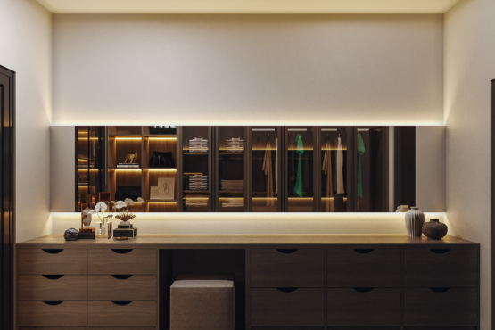 wardrobe di kamar di modern industrial house