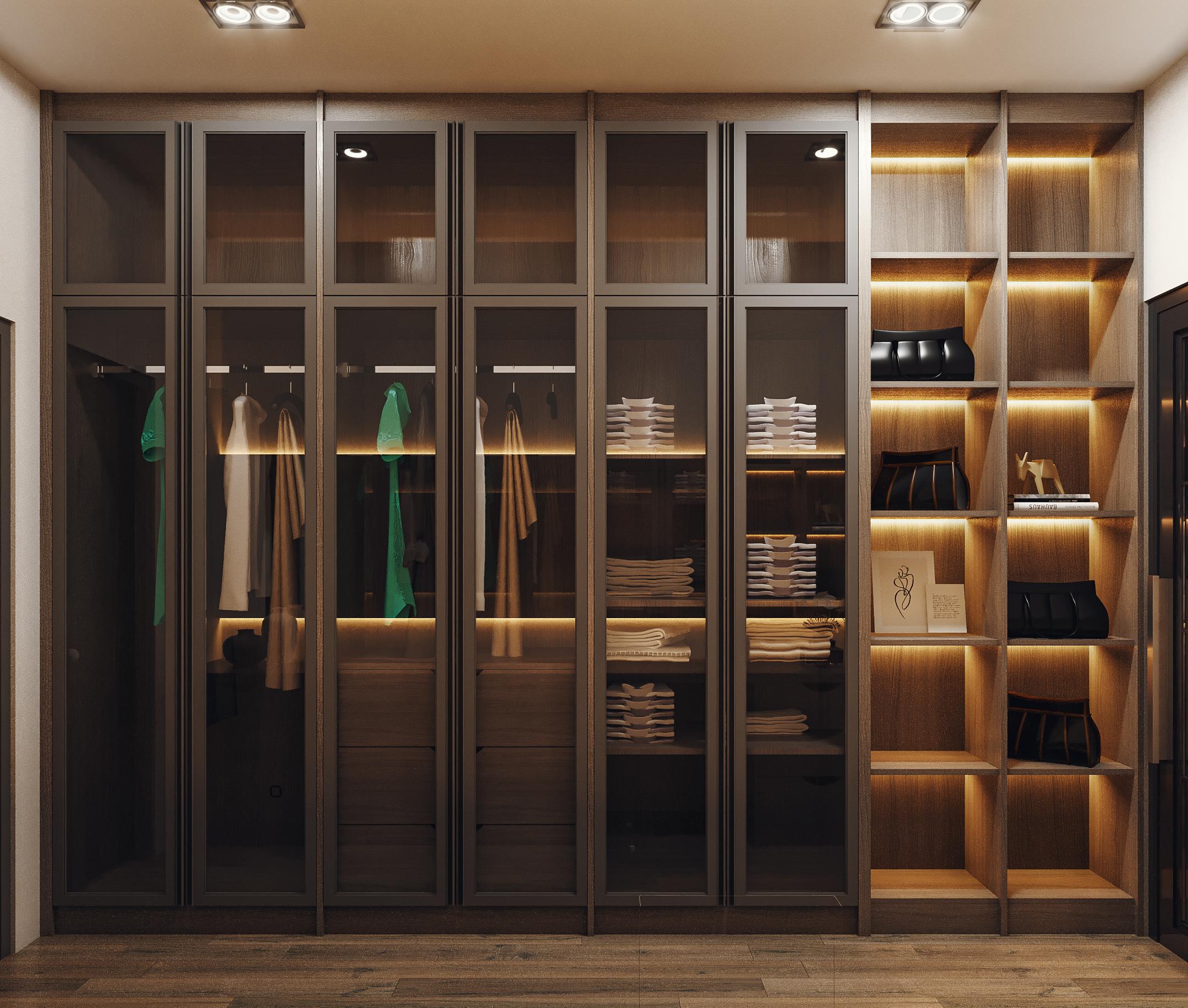 desain wardrobe di kamar di modern industrial house