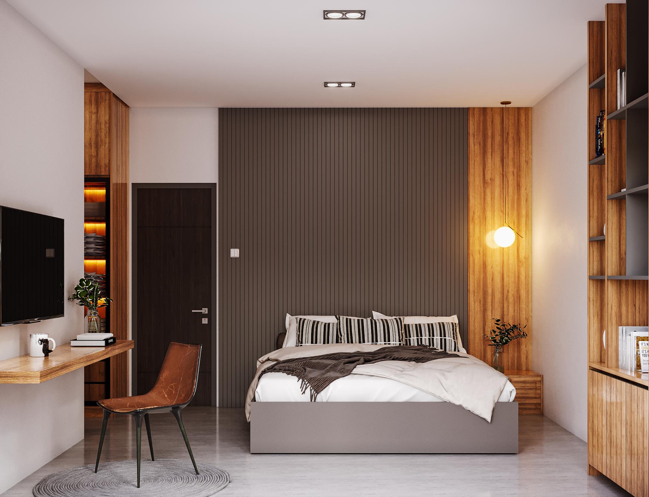 desain interior kamar di modern industrial house