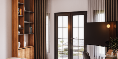 desain kamar di modern industrial house