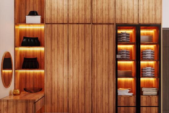 wardrobe di kamar tidur di modern industrial house