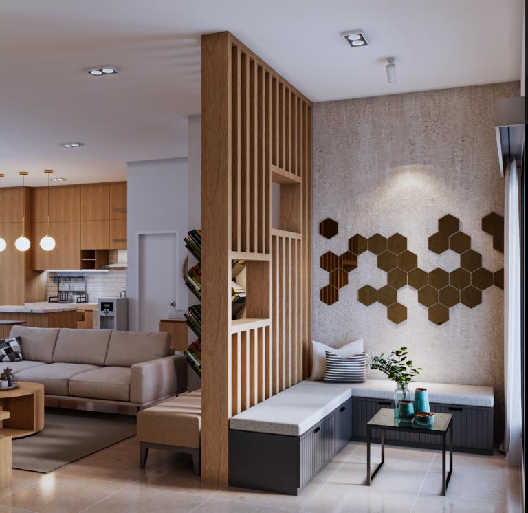 ruang tamu dan ruang keluarga modern kontemporer